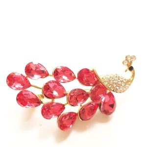 Peacock Goldtone and Red Crystal Bling Brooch Pin